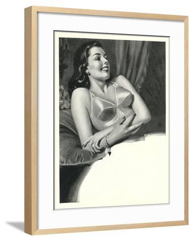 Happy Lady with Brassiere--Framed Art Print