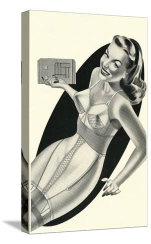 Lady in Underwear Adjusting Radio--Stretched Canvas Print