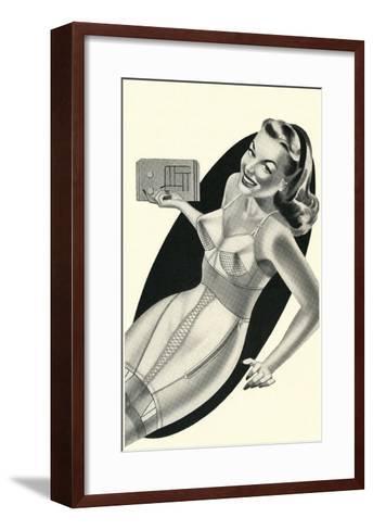 Lady in Underwear Adjusting Radio--Framed Art Print