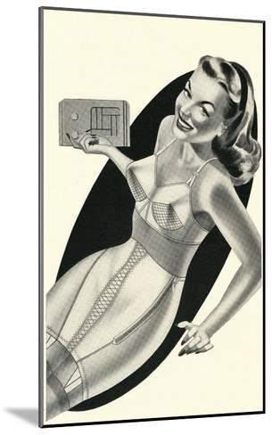 Lady in Underwear Adjusting Radio--Mounted Art Print