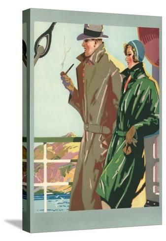 Couple on Ocean Liner--Stretched Canvas Print