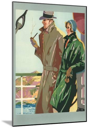 Couple on Ocean Liner--Mounted Art Print