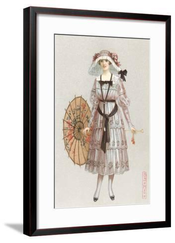 Woman in Droopy Hat, Fashion Illustration--Framed Art Print