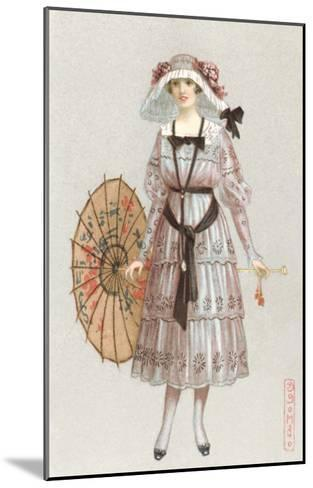 Woman in Droopy Hat, Fashion Illustration--Mounted Art Print