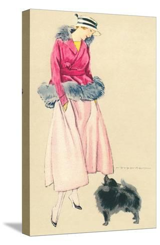 Fashionable Woman with Pomeranian--Stretched Canvas Print
