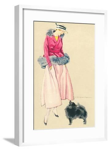 Fashionable Woman with Pomeranian--Framed Art Print