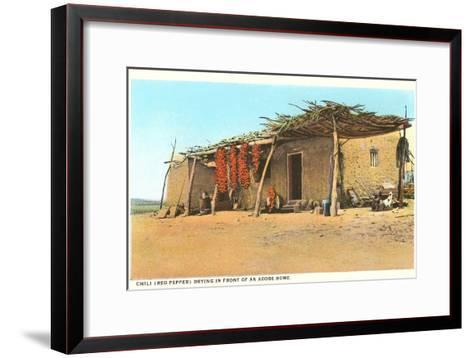 Chili Ristras Drying by Adobe House--Framed Art Print