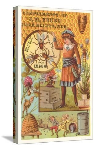 Victorian Girl with Bees and Hives--Stretched Canvas Print