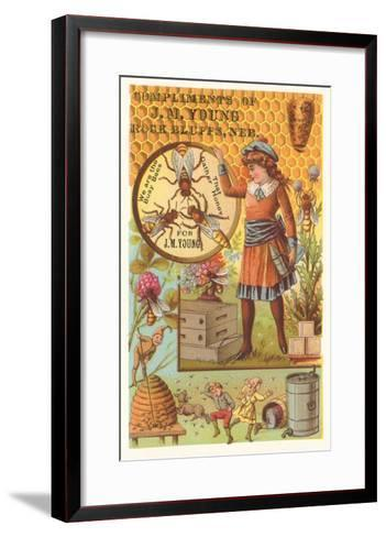 Victorian Girl with Bees and Hives--Framed Art Print