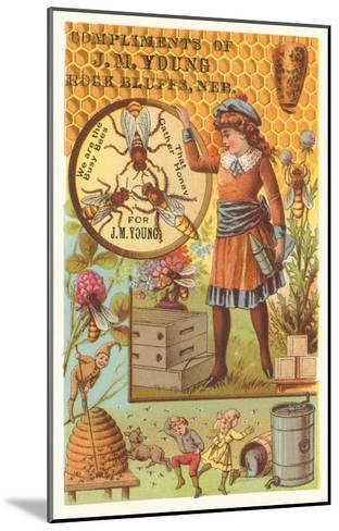 Victorian Girl with Bees and Hives--Mounted Art Print