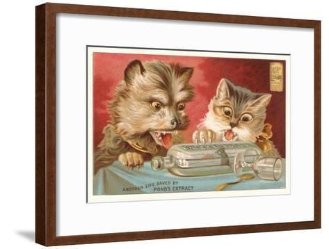 Shocked Victorian Cat and Dog--Framed Art Print