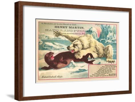 Polar Bear Attacking Seal--Framed Art Print