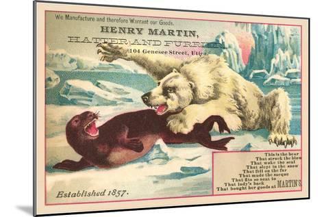 Polar Bear Attacking Seal--Mounted Art Print