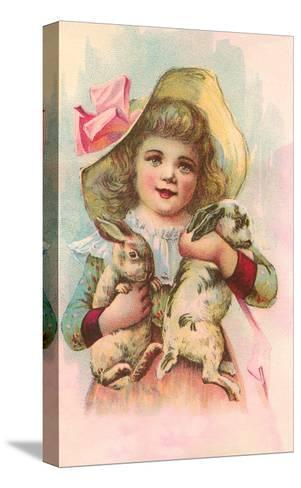 Victorian Girl with Rabbits--Stretched Canvas Print