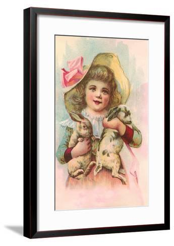 Victorian Girl with Rabbits--Framed Art Print