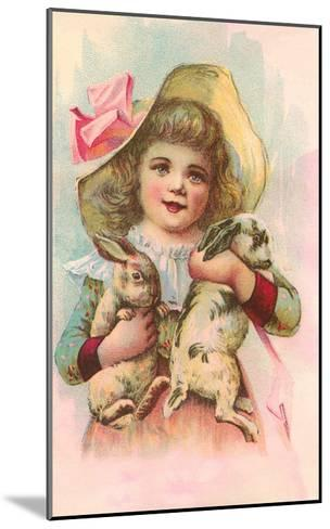 Victorian Girl with Rabbits--Mounted Art Print