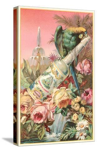 Parrot on Bottle with Roses--Stretched Canvas Print