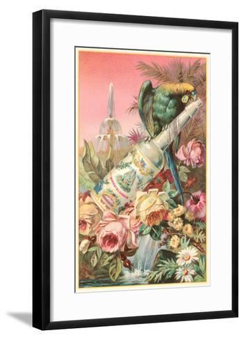 Parrot on Bottle with Roses--Framed Art Print