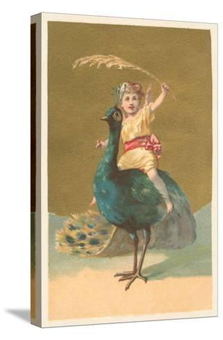 Little Girl Riding Peacock--Stretched Canvas Print