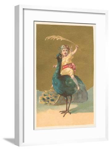 Little Girl Riding Peacock--Framed Art Print