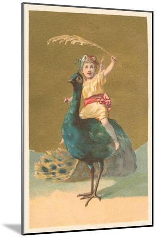 Little Girl Riding Peacock--Mounted Art Print