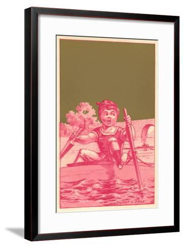 Caught a Crab, Distressed Rower--Framed Art Print