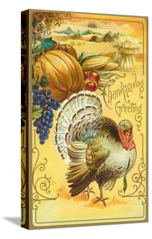 Thanksgiving Greeting, Turkey and Pumpkin--Stretched Canvas Print