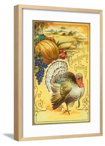 Thanksgiving Greeting, Turkey and Pumpkin--Framed Art Print