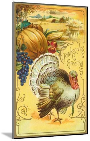 Thanksgiving Greeting, Turkey and Pumpkin--Mounted Art Print