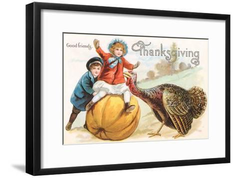 Greetings, Children with Turkey and Pumpkin--Framed Art Print