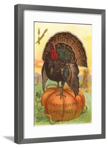 Greetings, Turkey on Pumpkin--Framed Art Print