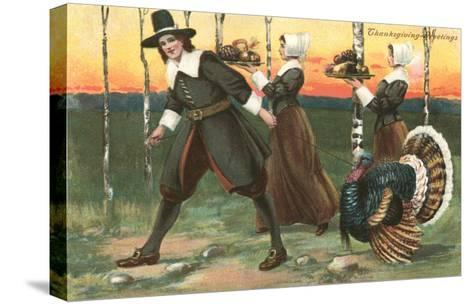 Greetings, Pilgrims Carrying Food--Stretched Canvas Print
