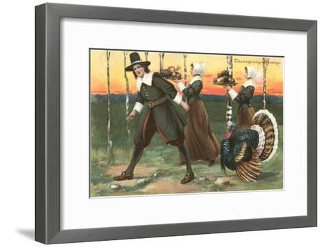 Greetings, Pilgrims Carrying Food--Framed Art Print