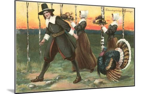 Greetings, Pilgrims Carrying Food--Mounted Art Print