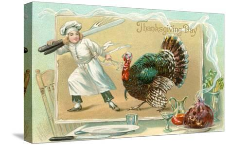 Chef Leading Turkey--Stretched Canvas Print