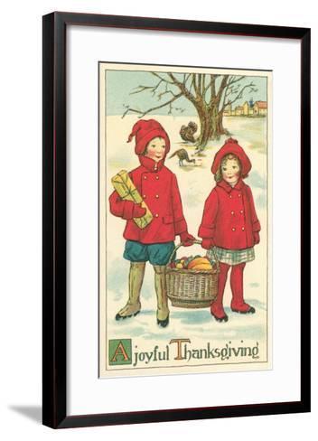 Children Carrying Basket of Food--Framed Art Print