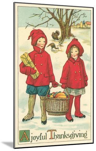 Children Carrying Basket of Food--Mounted Art Print