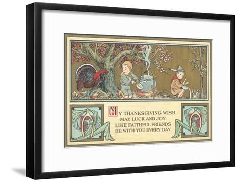 Boy Scouts Camping with Turkey--Framed Art Print