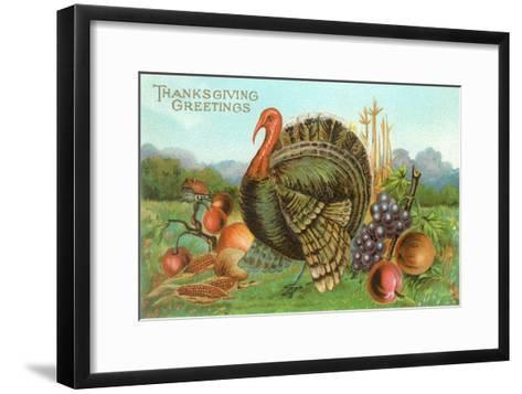 Thanksgiving Greetings, Turkey with Fruits--Framed Art Print