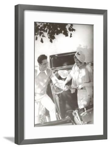 Couple with Tennis Racket--Framed Art Print