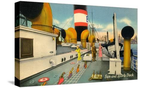 Sun and Sports Deck of Ocean Liner--Stretched Canvas Print