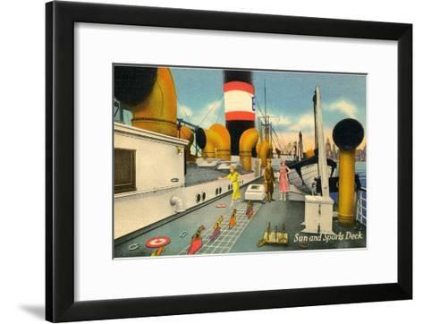 Sun and Sports Deck of Ocean Liner--Framed Art Print