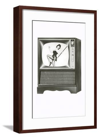 Console Television Set with Majorette--Framed Art Print