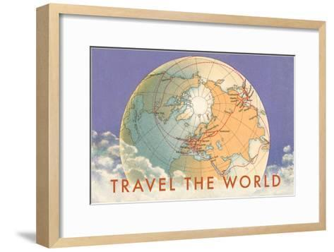 Travel the World, Globe with Routes--Framed Art Print