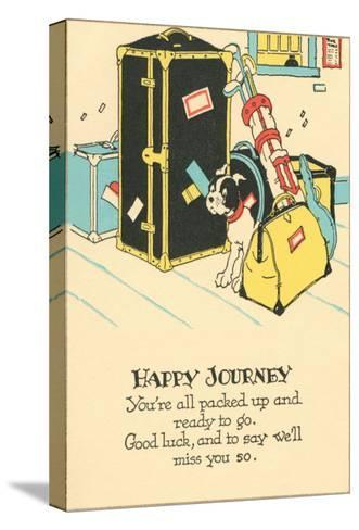 Crying Dog Amid Luggage, Happy Journey--Stretched Canvas Print