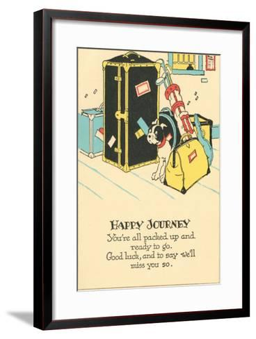 Crying Dog Amid Luggage, Happy Journey--Framed Art Print