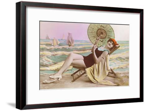 Woman in Beach Chair with Parasol--Framed Art Print
