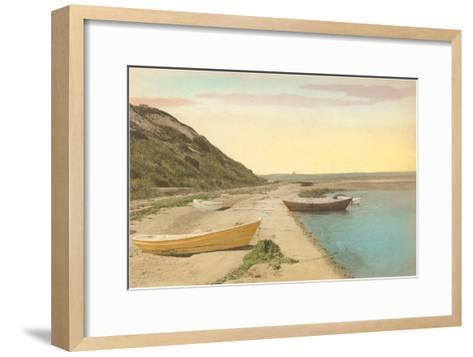 Simple Boats by Shore--Framed Art Print