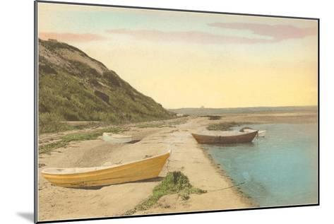 Simple Boats by Shore--Mounted Art Print