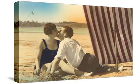 Couple Kissing on Beach--Stretched Canvas Print